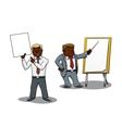 Businessmen making presentation and training vector image
