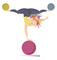 cartoon woman woman do exercises with the balls vector image