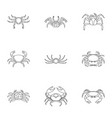 different crab icons set outline style vector image