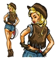 Pin Up Cowgirl isolated vector image
