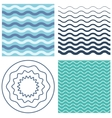 Set wave pattern and wavy circle vector image