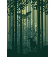 Deer and Abstract Forest Landscape2 vector image