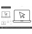 Laptop cursor line icon vector image