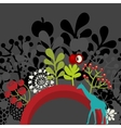 Half round banner with flora and giraffe vector image