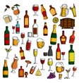 Alcohol drinks cocktails with snacks sketch icon vector image