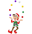 Christmas elf playing balls vector image vector image