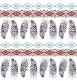 Tribal Boho Seamless Pattern with Feather vector image