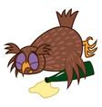 set isolated emoji character cartoon drunk owl vector image