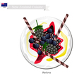 Pavlova Meringue Cake With Berries New Zealand vector image vector image