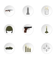 Equipment for war icons set flat style vector image