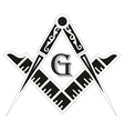 Freemasonry emblem the masonic square and compass vector image