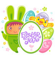 easter card with rabbit child vector image vector image