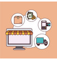 peach color background with laptop computer with vector image