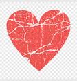 grunge red heart transparent vector image
