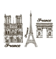 Travel Hand drawn sketch France vector image