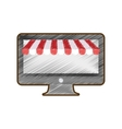 drawing computer shopping online vector image