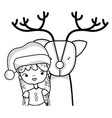 line nice girl with christmas clothes and reindeer vector image