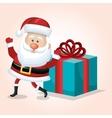 santa claus card happy and big gift design vector image