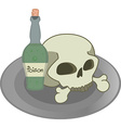 Skull and green poison bottle on a plate vector image