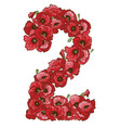 two digit made of red poppies flowers vector image