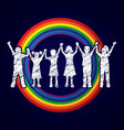 group of children holding hands graphic vector image