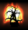 Spooky monster creature tree in flames vector