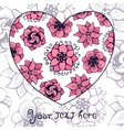 Romantic greeting card with floral heart shape vector image
