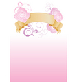 vintage banner with flowers on pink background vector image