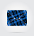 blue black tartan isolated icon mailing envelope vector image
