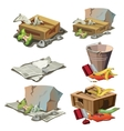 Grocery paper and other trash Set of garbage vector image