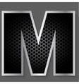 Metal grid font - letter M vector image