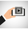 hand holding smartphone video player vector image vector image