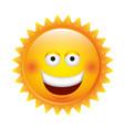 yellow sticker happy sun icon vector image