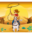 A white horse with a cowboy vector image vector image