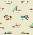 seamless pattern with cartoon ship vector image vector image