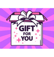 open box with icon of gift for you on pu vector image