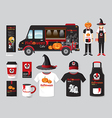 restaurant cafe design set street halloween food vector image