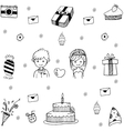 Wedding party in doodle vector image