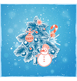 Christmas tree and snowman vector image