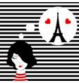fashion girl dreaming of paris vector image
