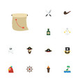 flat icons palm pirate hat ship steering wheel vector image