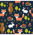 Forest seamless pattern with cute animals vector image