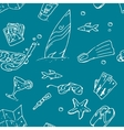 surfing hand draw pattern vector image