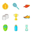 Active tennis icons set cartoon style vector image