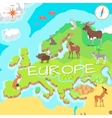 Europe Isometric Map with Flora and Fauna vector image
