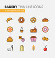 bakery and desserts thin line icons set vector image