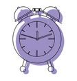 alarm clock purple watercolor silhouette on white vector image