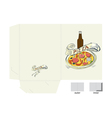 template for folder with pizza vector image vector image