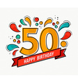 Colorful happy birthday number 50 flat line design vector image