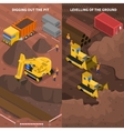 Construction Machinery Isometric Vertical Banners vector image